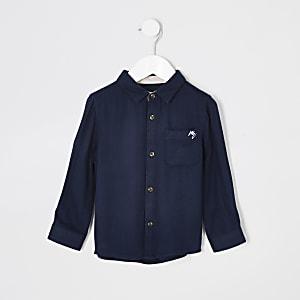 Mini - Marineblauw overhemd met borstzak en textuur voor jongens