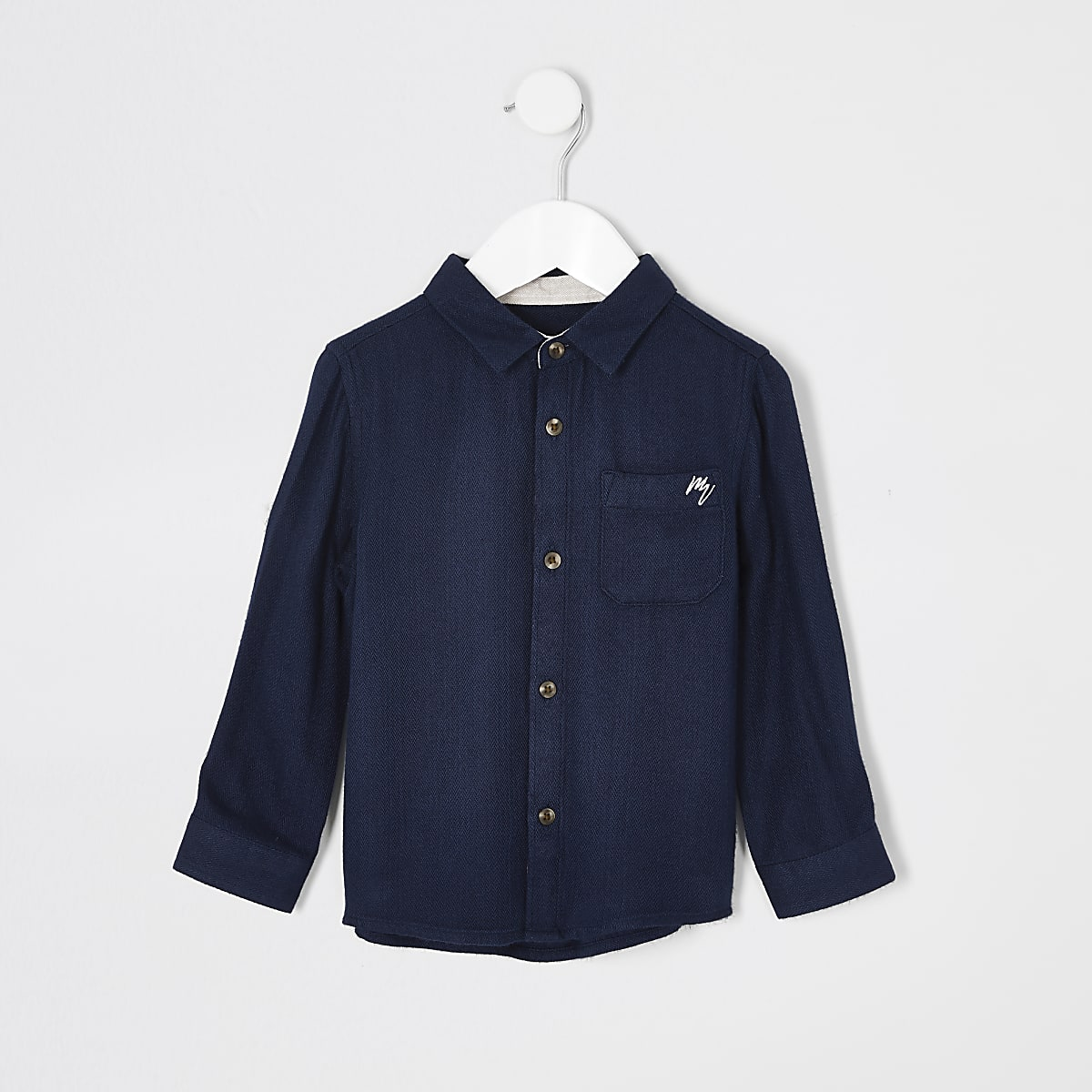 Mini boys navy textured chest pocket shirt