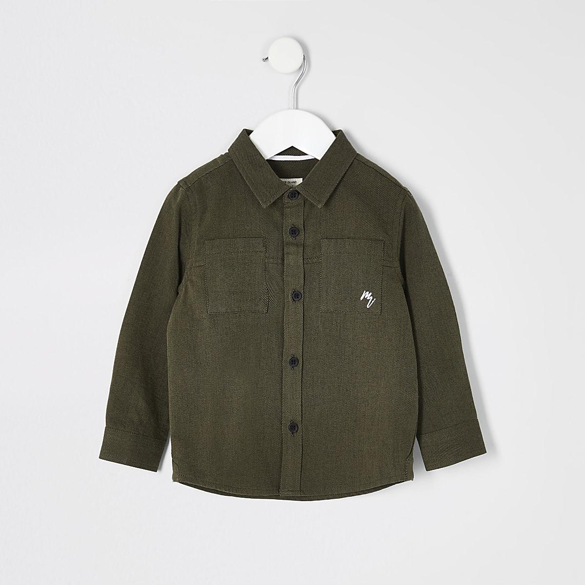 Mini boys khaki long sleeve utility shirt