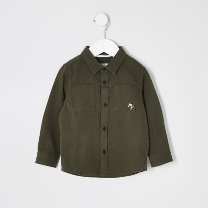 Mini boys khaki long sleeve utility shirt