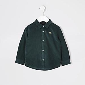 Mini – Grünes Jungen-Cordhemd