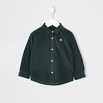 Mini boys green cord shirt