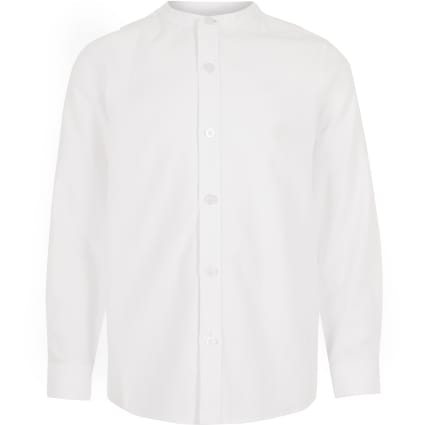 Boys white long sleeve grandad collar shirt