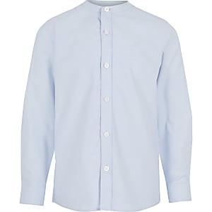 Langärmeliges blaues Hemd mit Grandad-Kragen für Jungen