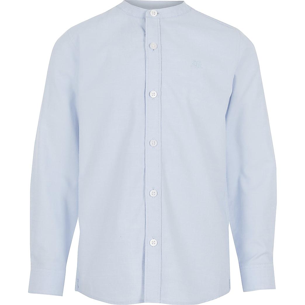 Boys blue long sleeve grandad collar shirt