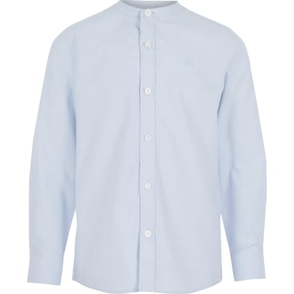 Boys blue long sleeve grandad collar shirt