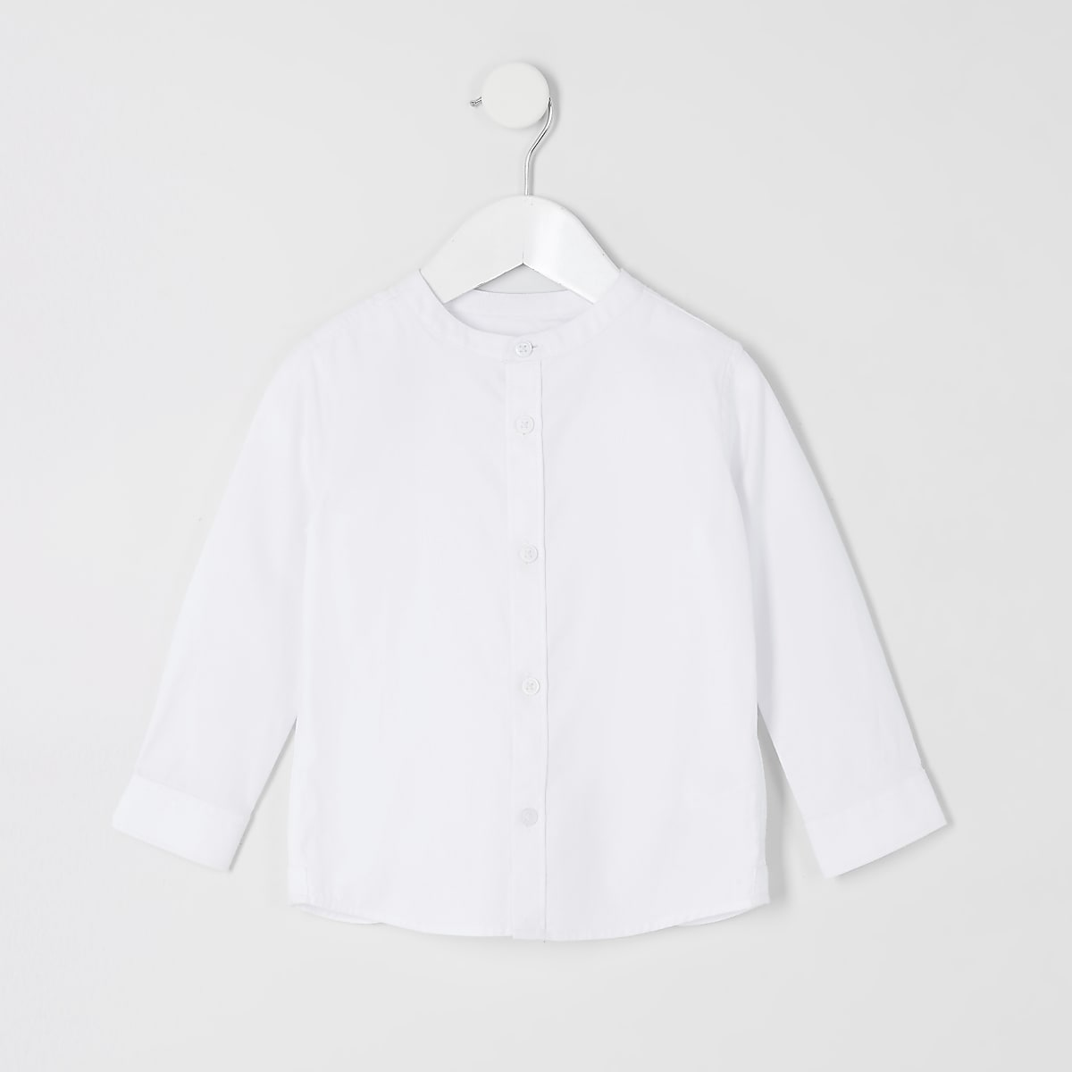 Mini boys white grandad collar shirt
