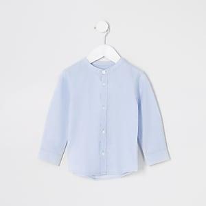 Blaues Hemd mit Granddad-Kragen für kleine Jungen