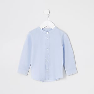 Chemise bleue à col grand-père Mini garçon