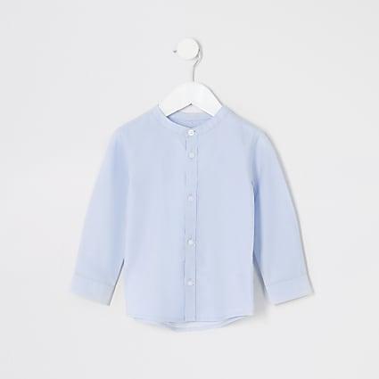 Mini boys blue grandad collar shirt