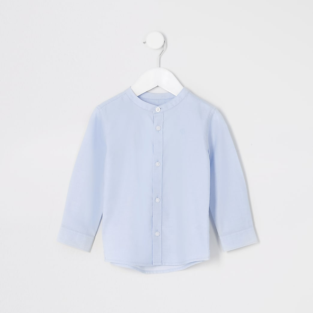 Mini boys blue grandad collar shirt