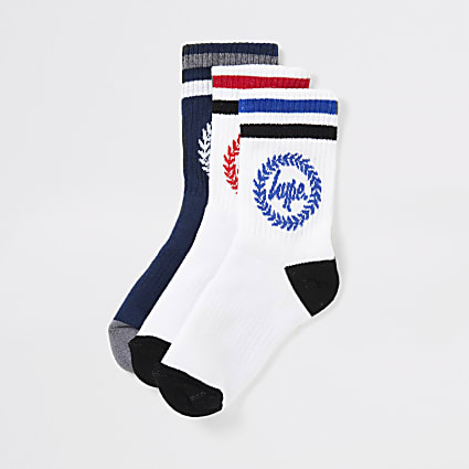 Boys white Hype crest print socks 3 pack