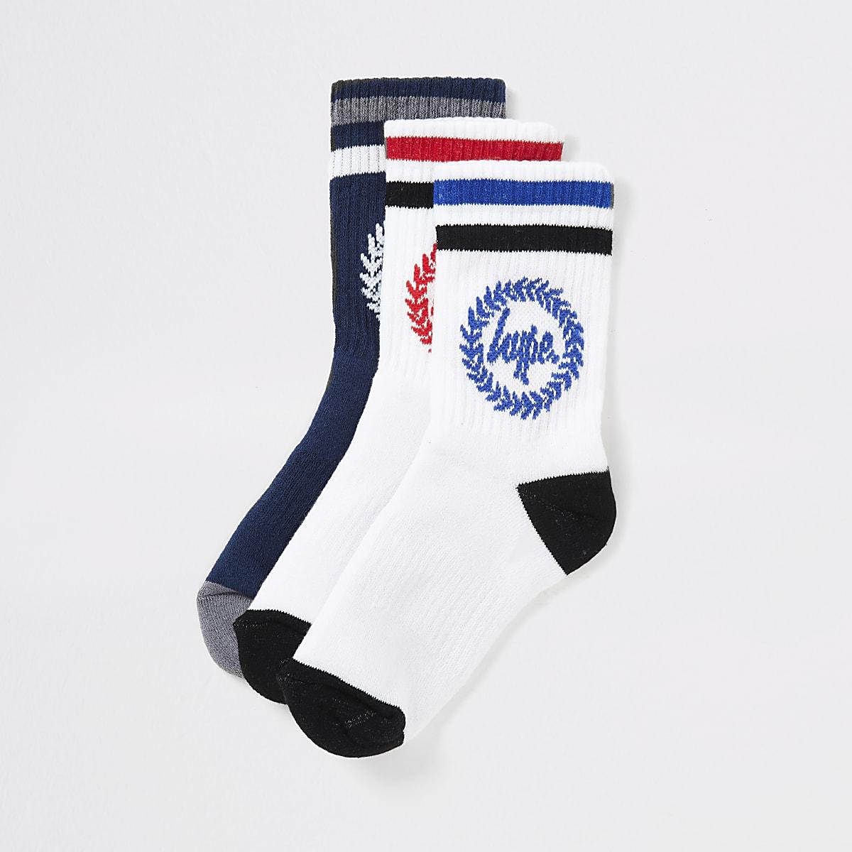 Boys white Hype crest print socks 3 pack