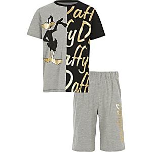 Grijze pyjamaset met Daffy Duck-print voor jongens