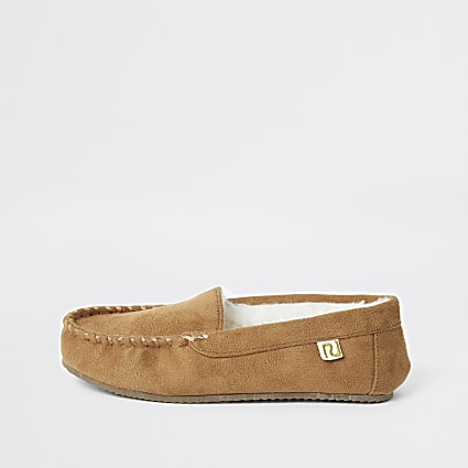 Boys brown moccasin slippers