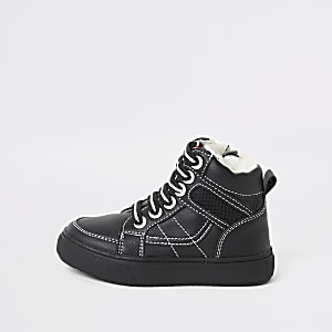 Schwarze High-Top-Sneaker mit Nähten für kleine Jungen