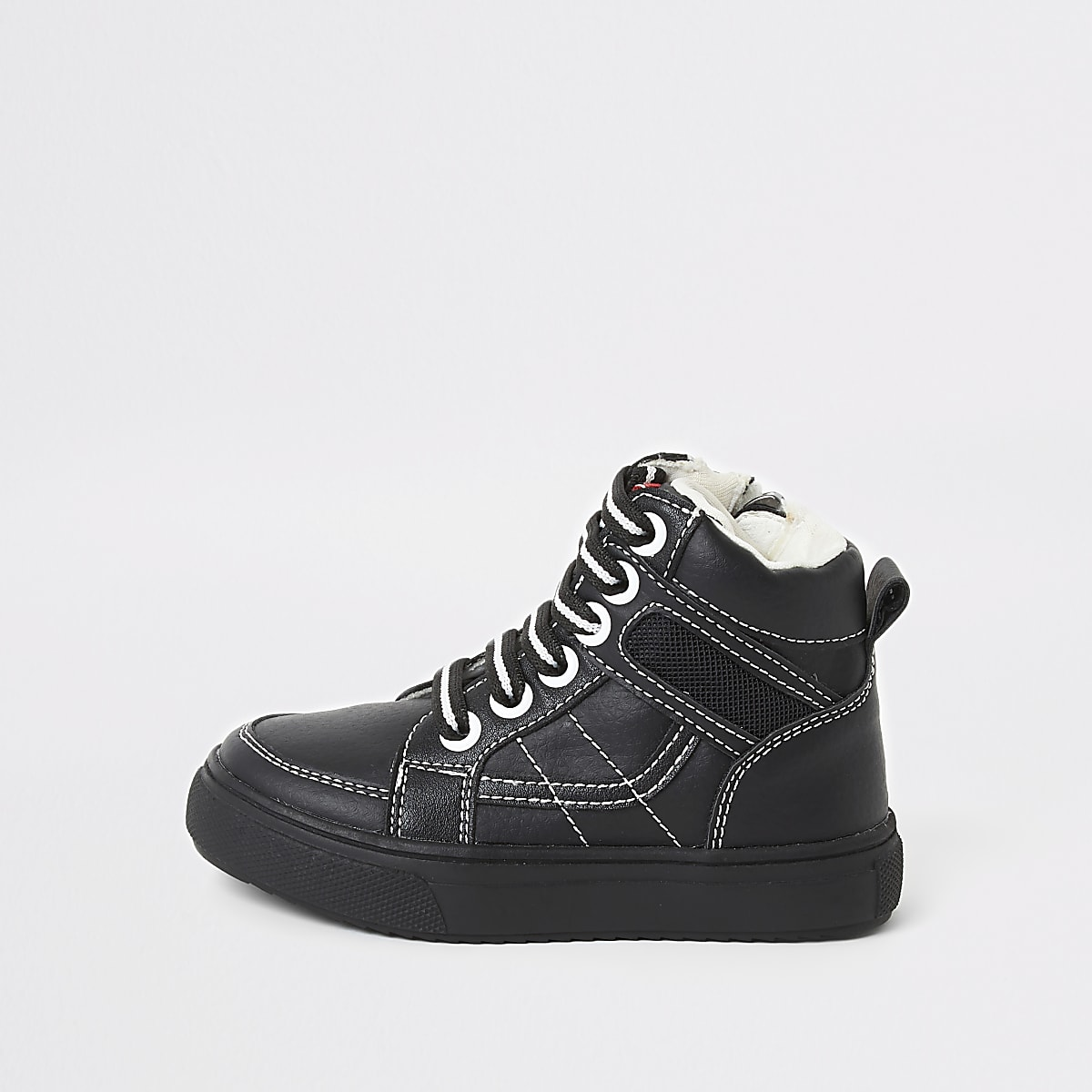 Mini boys black stitch high top trainers