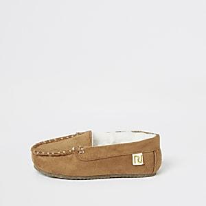 Mini - Bruine moccasin pantoffels voor jongens