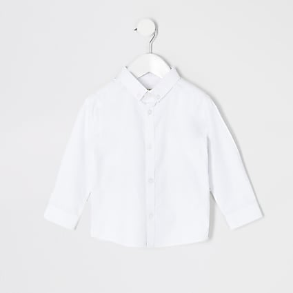 Mini boys white twill long sleeve shirt