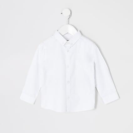 Mini boys white twill long sleeve shirt