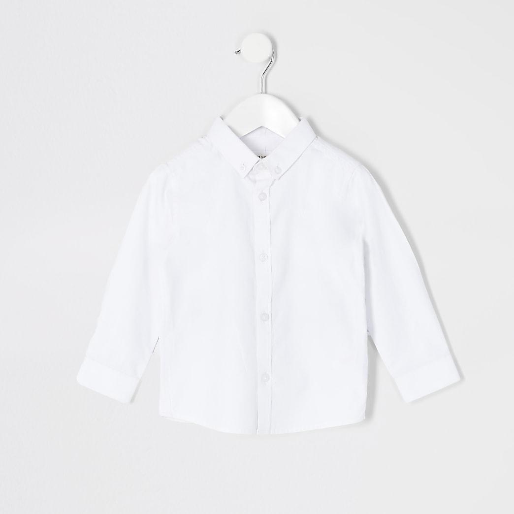 Mini - Wit jongensoverhemd van keperstof, met lange mouwen