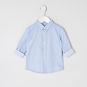 Mini boys blue twill long sleeve shirt
