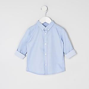 Mini - Blauw overhemd van keperstof met lange mouwen voor jongens