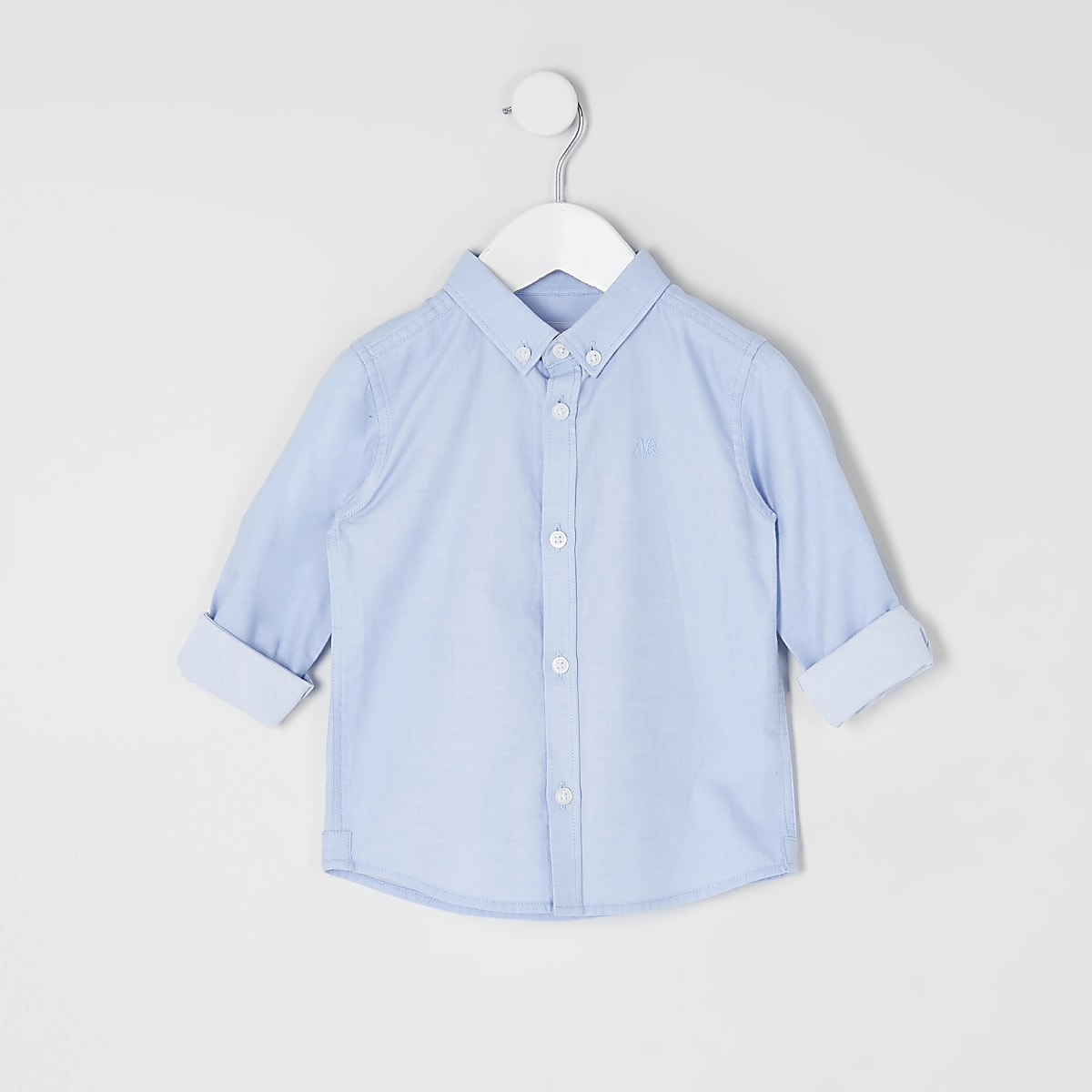 Mini boys blue twill long sleeve shirt