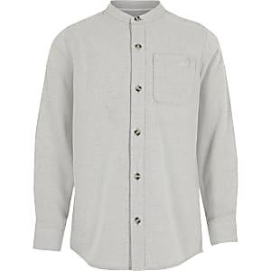 Graues, strukturiertes Hemd aus Köper mit Grandad-Kragen für Jungen