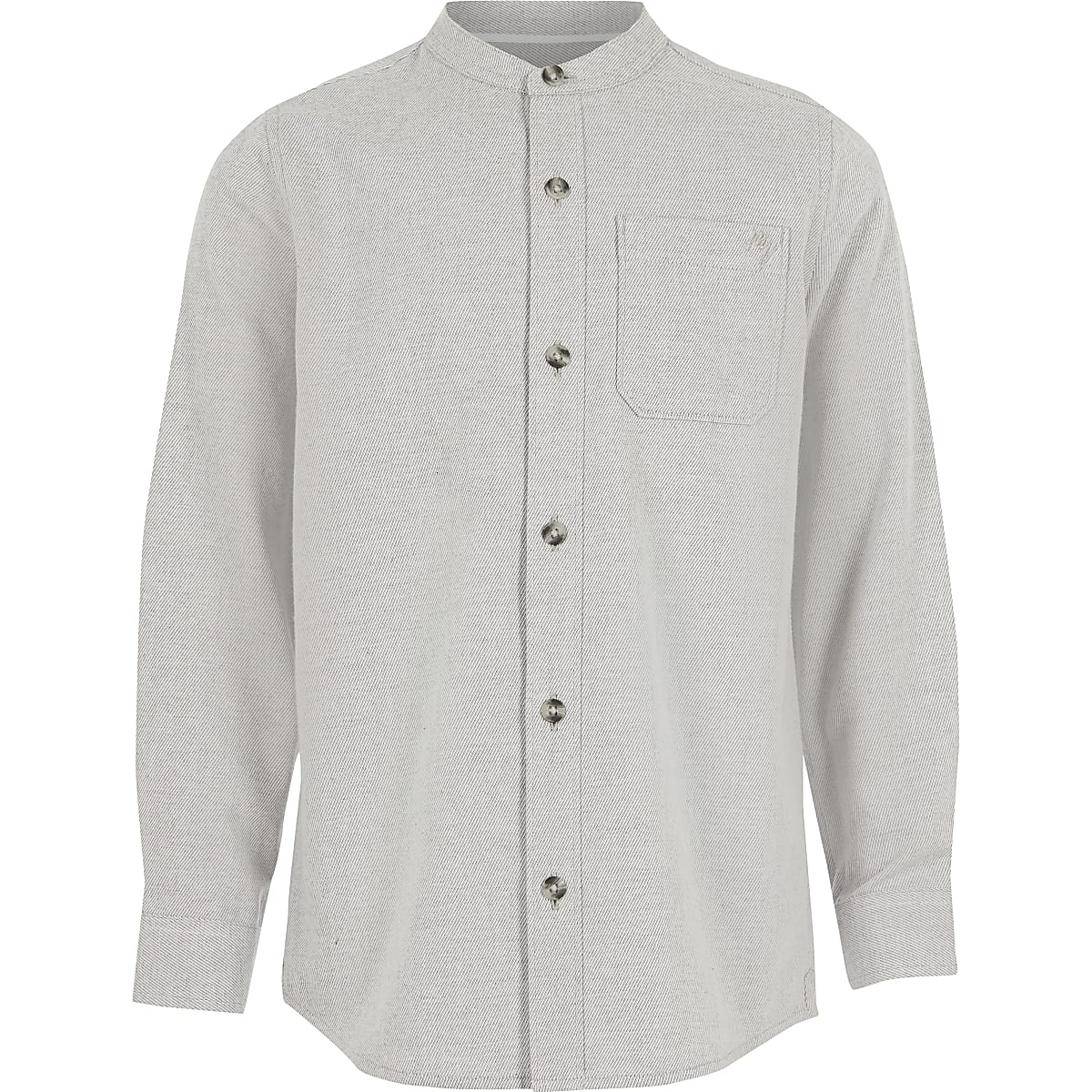 Boys grey textured grandad collar shirt