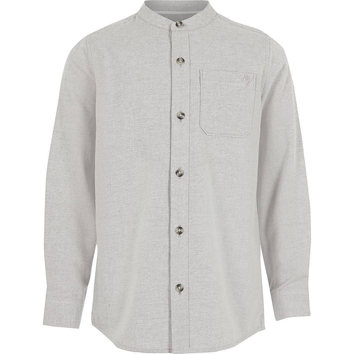 Grijze getextureerdoverhemd van twill-stof zonder kraag voor jongens