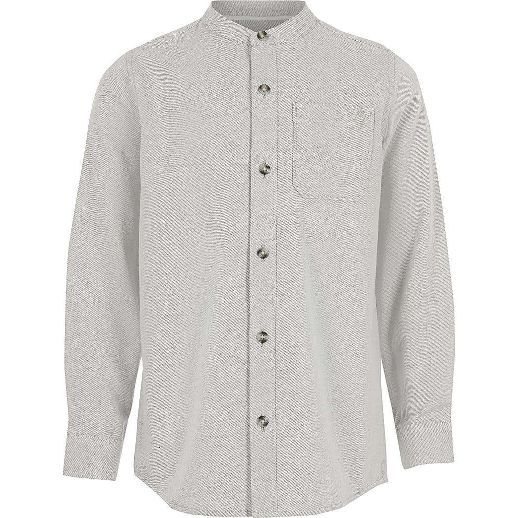 Boys grey twill textured grandad collar shirt
