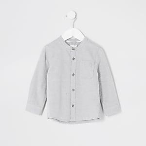 Chemise texturée grise à col grand-père Mini garçon