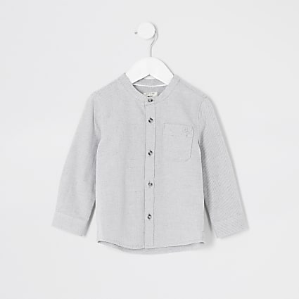 Mini boys grey textured grandad collar shirt