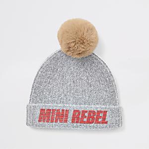 Mini - Grijze rebel beanie muts met pompon van imitatiebont voor jongens