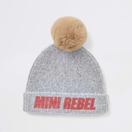 Boys grey mini rebel faux fur pom beanie