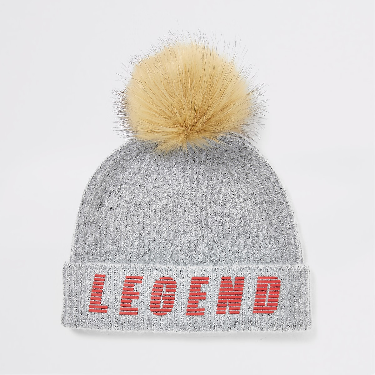 Boys grey legend faux fur pom beanie