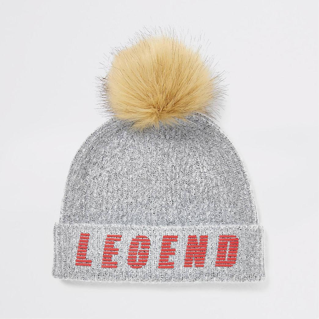 Boys grey legend faux fur pom beanie