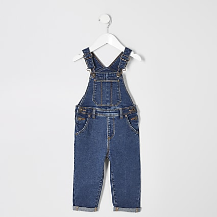 Mini boys blue wash denim dungarees