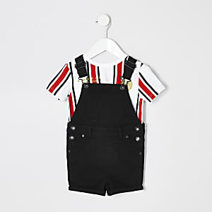 Mini boys black denim short overalls outfit