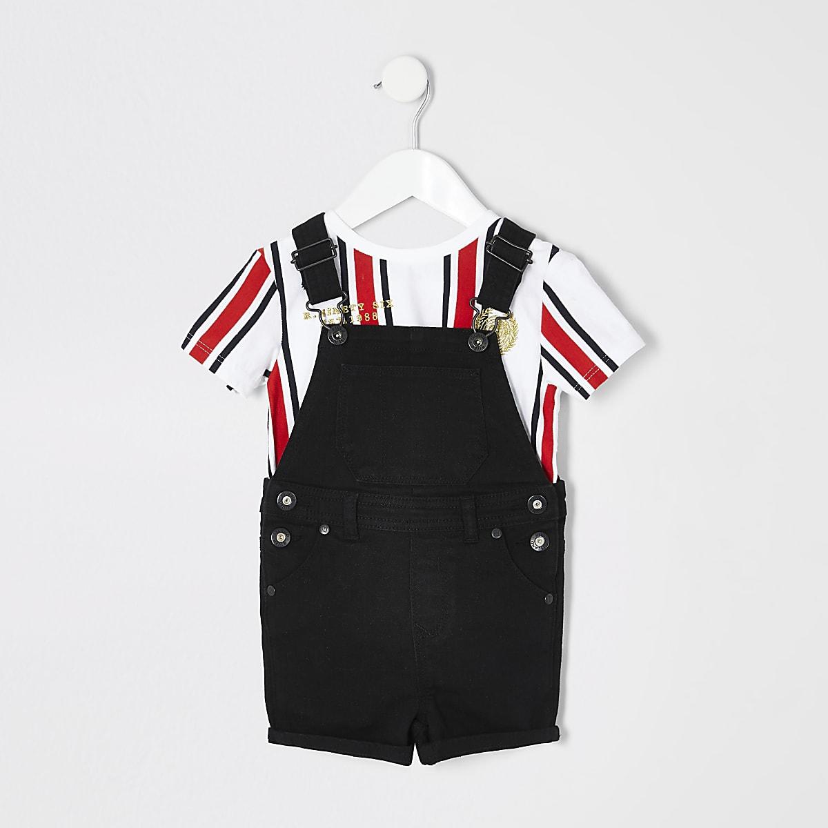 Mini boys black denim short overalls outfit