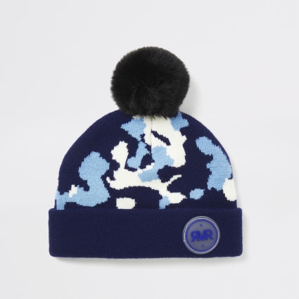 Mini boys blue camo print beanie hat