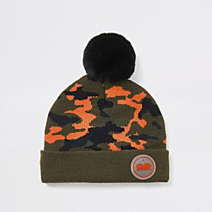 Mini -Kaki camouflage beaniemuts voor jongens
