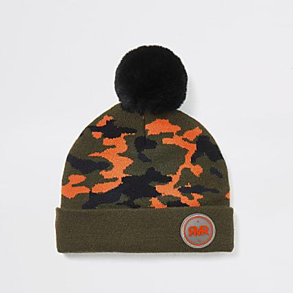 Mini boys khaki camo print beanie hat