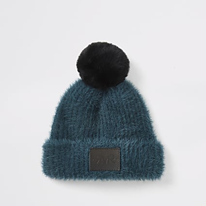Mini boys teal cosy beanie
