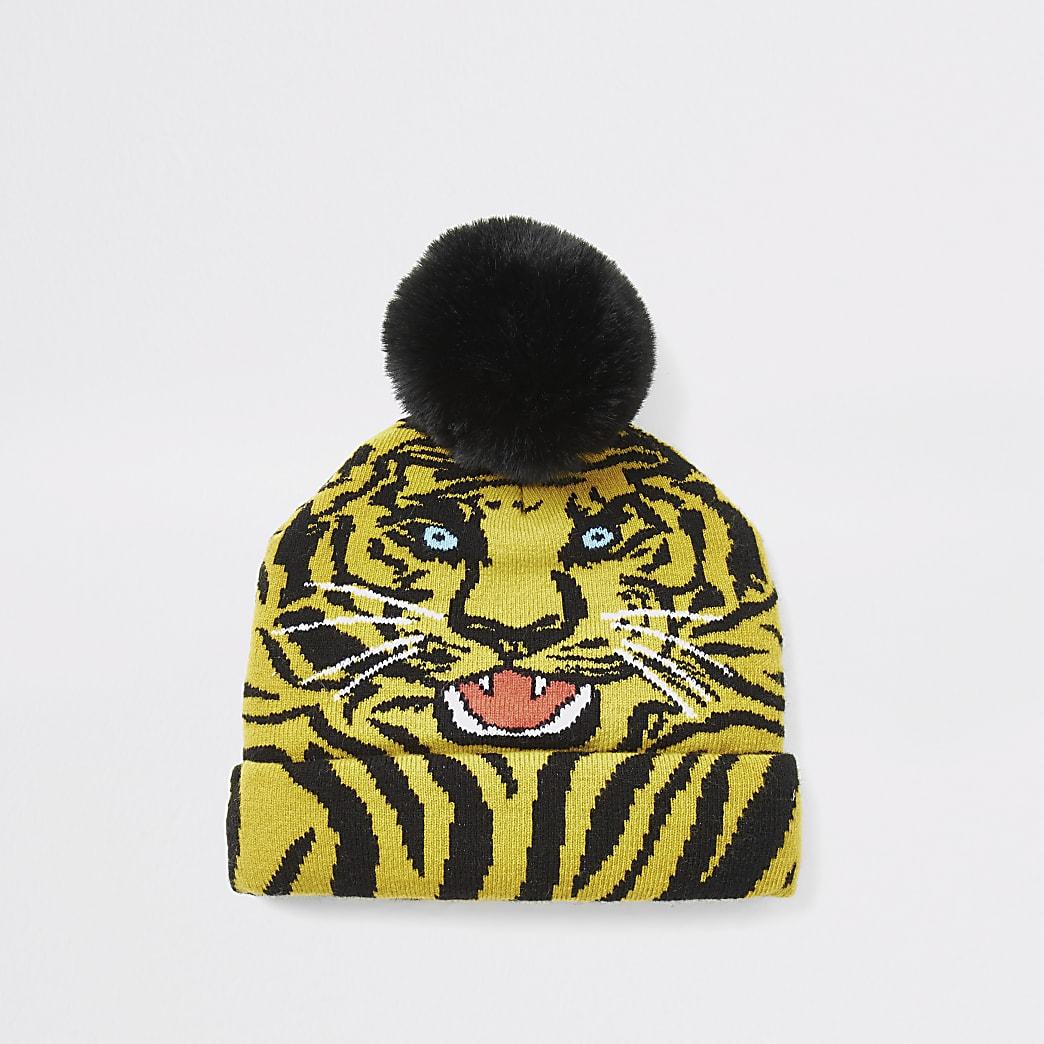 Mini boys yellow tiger print beanie hat