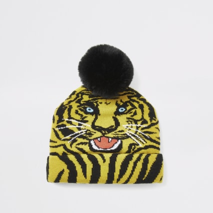 Mini boys yellow tiger print beanie hat