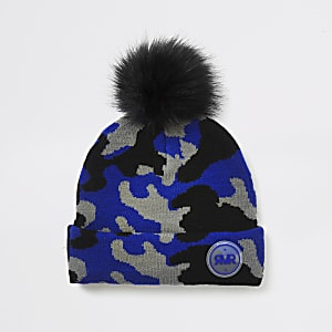 Blauwe beanie met camouflageprint voor jongens