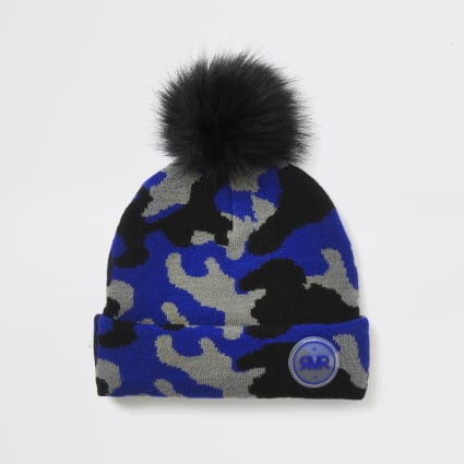 Boys blue camo print beanie hat
