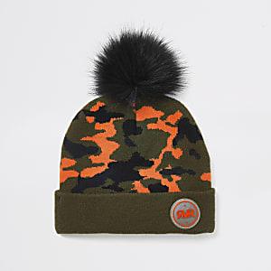Beanie-Mütze mit Camouflageprint in Khaki für Jungen